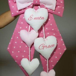Fiocco nascita rosa 4 cuori pendenti per Grace