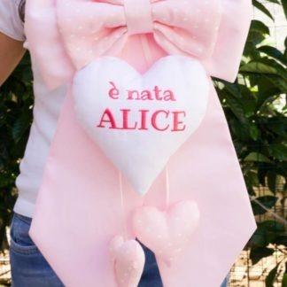 Fiocco nascita rosa chiaro E' nata Alice
