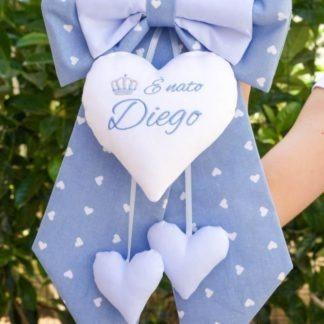 Fiocco nascita azzurro con corona per Diego