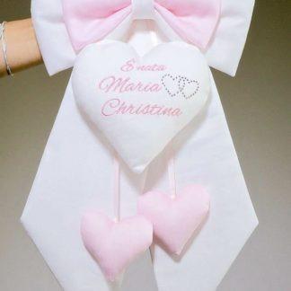 Fiocco nascita bianco e rosa per Maria Christina