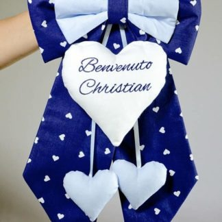 Fiocco nascita blu e azzurro Benvenuto Christian