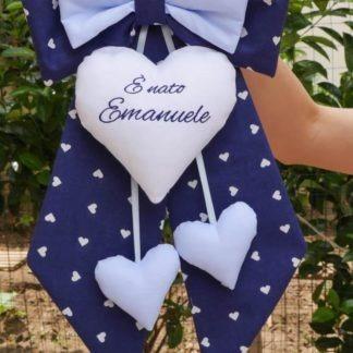 Fiocco nascita blu e azzurro per Emanuele