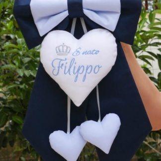 Fiocco blu notte e azzurro con corona per Filippo