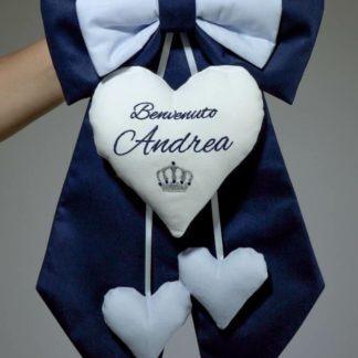 Fiocco nascita blu scuro e azzurro con corona per Andrea