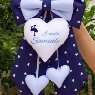 Fiocco nascita blu e azzurro con cicogna per Samuele