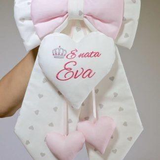Fiocco nascita panna e rosa con corona per Eva
