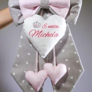 Fiocco nascita grigio e rosa con corona per Michela