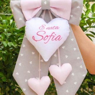 Fiocco nascita grigio e rosa per Sofia