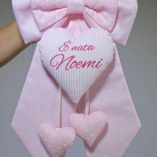 Fiocco nascita rosa con cuore rigato per Noemi