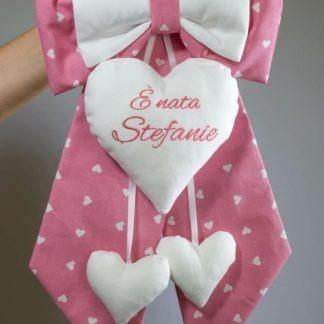 Fiocco nascita rosa e bianco per Stefanie