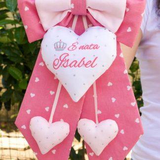 Fiocco nascita rosa con brillanti per Isabel