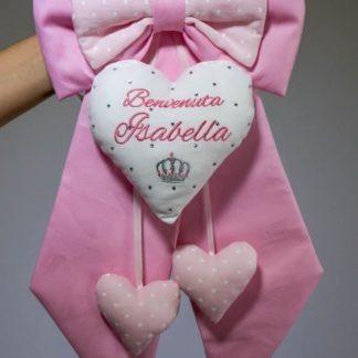 Fiocco nascita rosa con brillanti e corona per Isabella