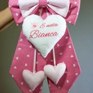Fiocco nascita rosa con corona fatina per Bianca