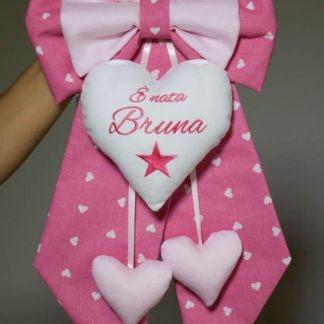 Fiocco nascita rosa acceso con ricamo stella per Bruna