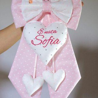 Fiocco rosa a cuoricini per Sofia con brillanti