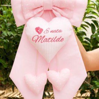 Fiocco nascita rosa chiaro con piedini per Matilde