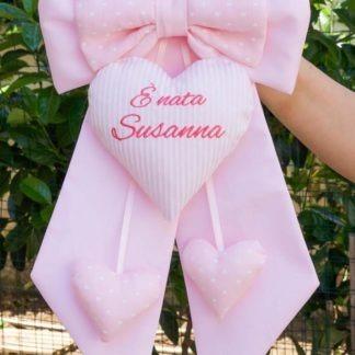 Fiocco nascita rosa con cuore rigato per Susanna