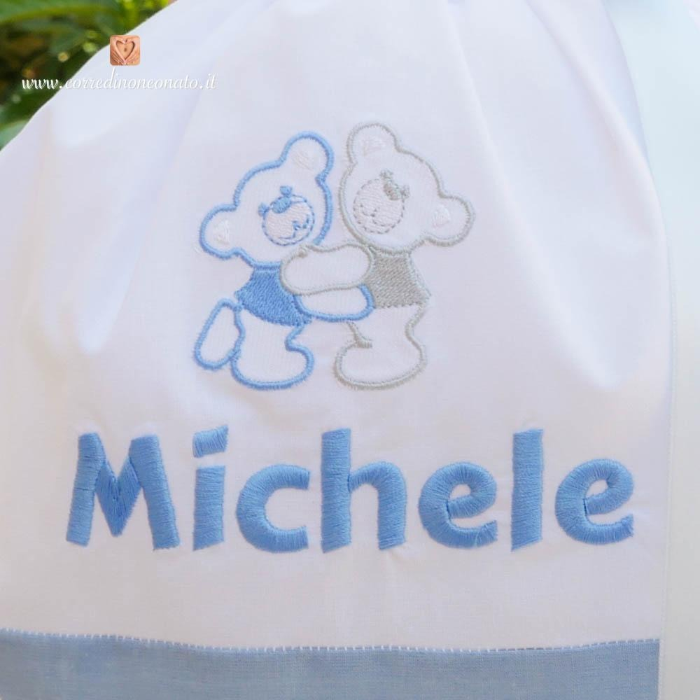 abbastanza Sacco nascita azzurro con orsetti per Michele: perfetto per il tuo  SG56