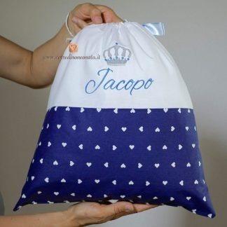 Sacco nascita blu con corona per Jacopo