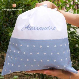Sacco nascita bianco e azzurro a cuori per Alessandro