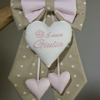 Fiocco nascita marroncino e rosa con ricami rosa per Giulia