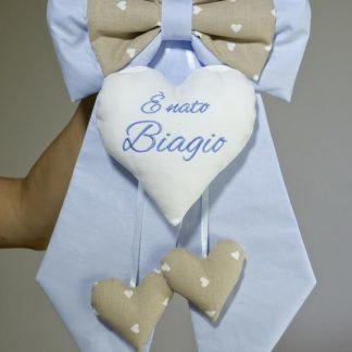 Fiocco nascita azzurro e marroncino per Biagio