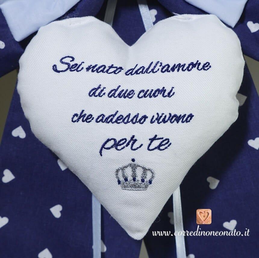 Fiocco Nascita Bimbo Con Frase Personalizzata E Corona I Ricami