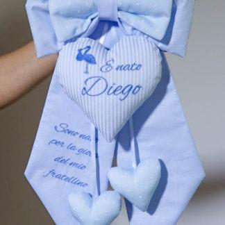 Fiocco nascita azzurro con cicogna e frase dedica per Diego