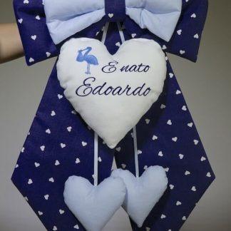 Fiocco nascita blu e azzurro con cicogna per Edoardo