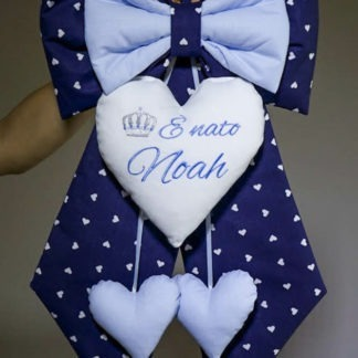 Fiocco nascita blu e azzurro con corona per Noah
