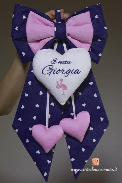 Fiocco nascita blu e rosa con cicogna per Giorgia