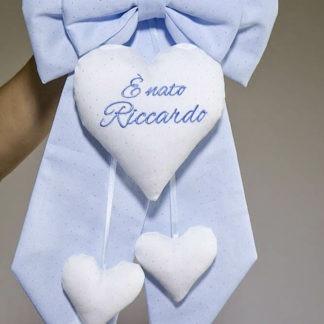 Fiocco nascita glitterato azzurro e bianco per Riccardo