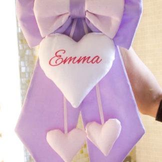 Fiocco nascita lilla e rosa glitterato per Emma