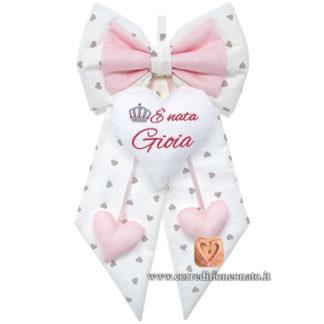 Fiocco nascita panna a cuori e rosa per Gioia
