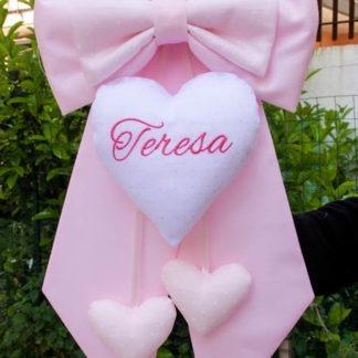 Fiocco nascita rosa chiaro con cuore glitterato per Teresa