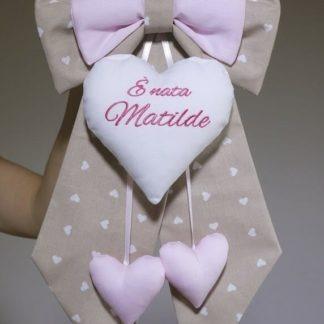 Fiocco nascita marroncino e rosa E' nata Matilde