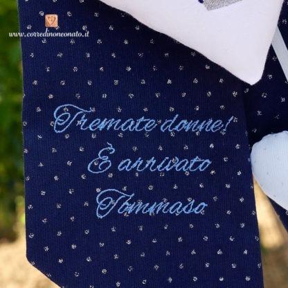 Fiocco nascita glitterato blu e azzurro con frase per Tommaso