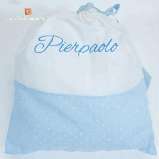 Sacco nascita azzurro a pois e bianco per Pierpaolo