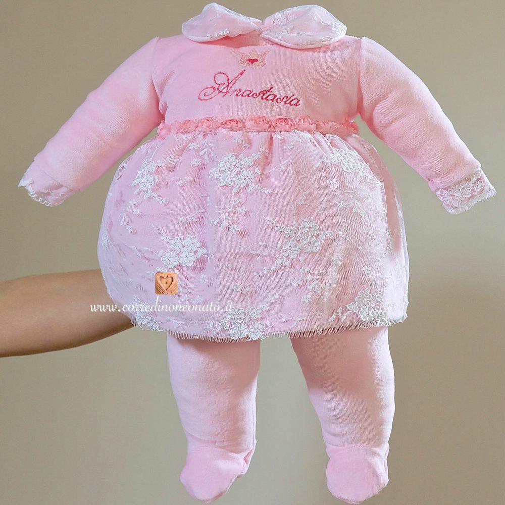 buy popular hot product sells Coprifasce neonata rosa ciniglia e pizzo Anastasia