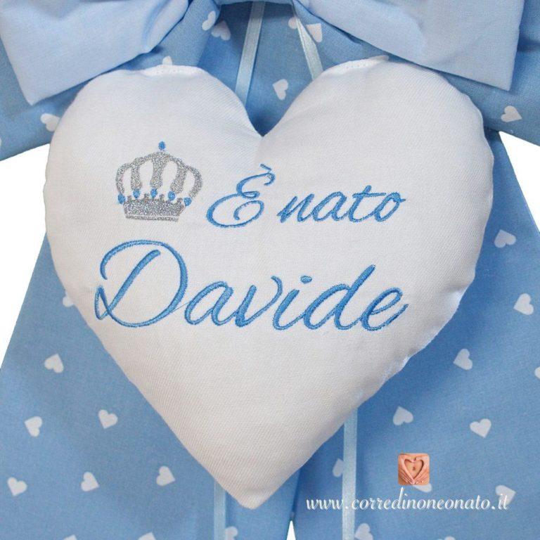 Frase ricamata sul cuore centrale per Davide