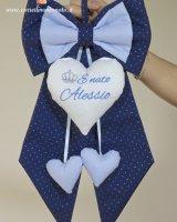 GB Alessio fiocco nascita blu glitterato strass