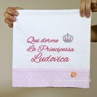 Lenzuolo ricamato per la principessa Ludovica