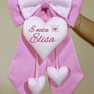 Fiocco nascita rosa per Elisa