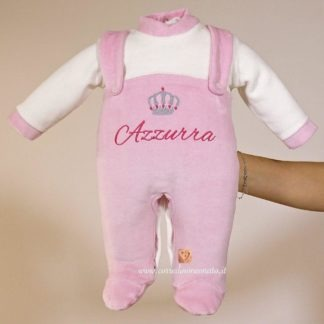 Capo d'abbigliamento neonata in ciniglia rosa