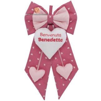 Fiocco nascita Benedetta rosa