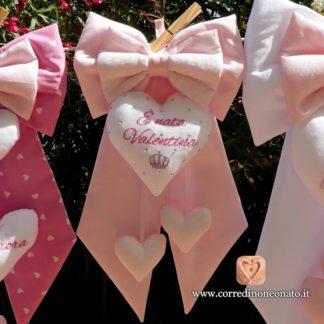 Valentina fiocco nascita rosa brillanti