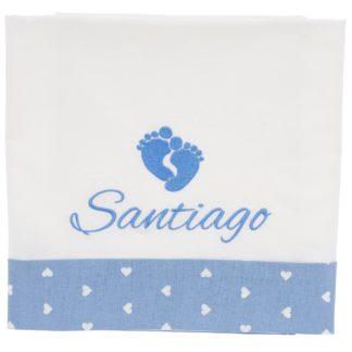 Lenzuolo neonato Santiago ricamo piedini