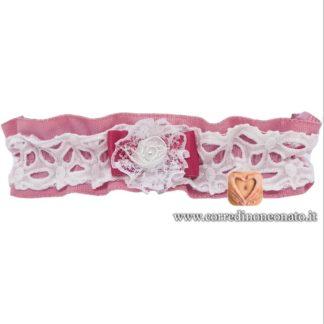 Fascia per capelli neonata sangallo rosa