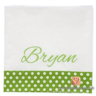 Lenzuolo neonato Bryan verde pois