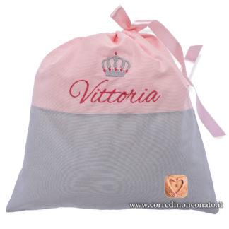 Sacco nascita Vittoria rosa grigio